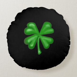 Green Four Leaf Clover Shamrock Round Pillow