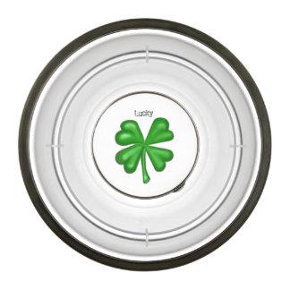 Green Four Leaf Clover Shamrock Pet Bowl