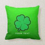 Green Four Leaf Clover Throw Pillows