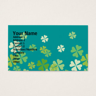 Green Four Leaf Clovers Design Business Card