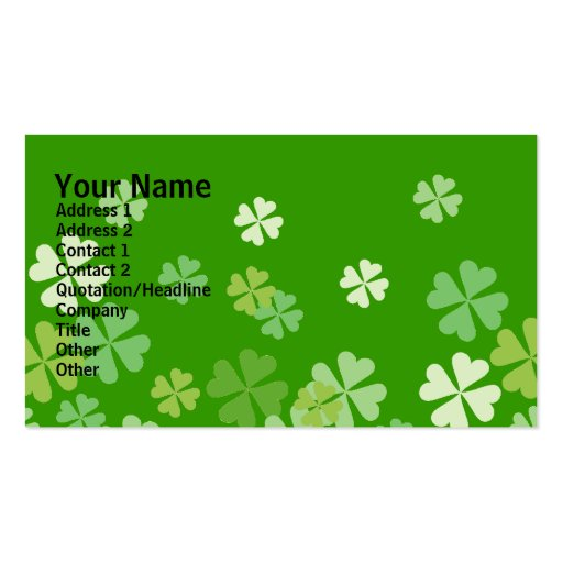 Green Four Leaf Clovers Design Double-Sided Standard Business Cards (Pack Of 100)