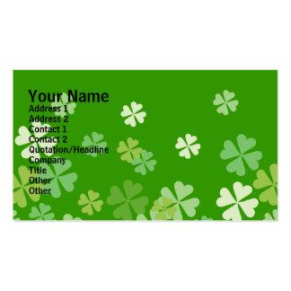 Green Four Leaf Clovers Design Business Cards