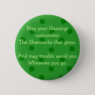 Green Four Leafed Clover Irish Luck Button