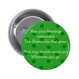 Green Four Leafed Clover Irish Luck Button