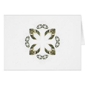 Green Four Petal Fractal Art Design Cards