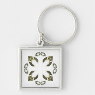 Green Four Petal Fractal Art Design Keychain