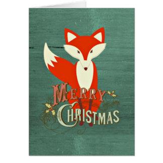 Green Fox Merry Christmas Card