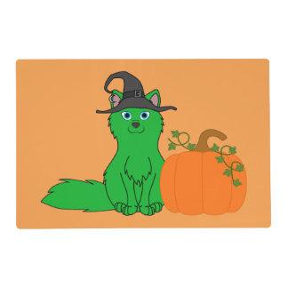 Green Fox with Halloween Pumpkin Laminated Placemat