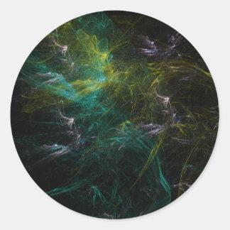 Green fractal classic round sticker