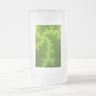 Green Fractal Frosted Glass Beer Mug