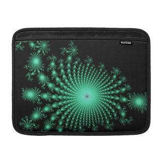 Green Fractal Islands on Black - abstract art MacBook Sleeve