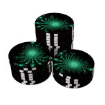 Green Fractal Islands on Black - abstract art Set Of Poker Chips
