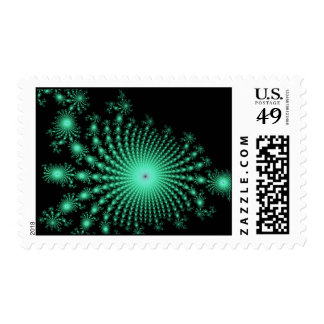 Green Fractal Islands on Black - abstract art Postage