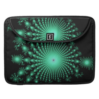 Green Fractal Islands on Black - abstract art Sleeve For MacBook Pro