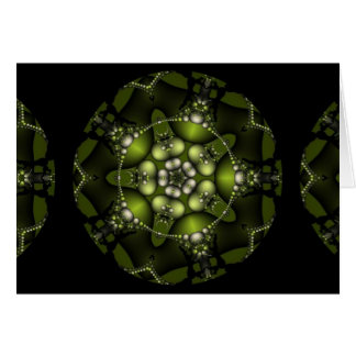 Green Fractal Jewels Greeting Cards