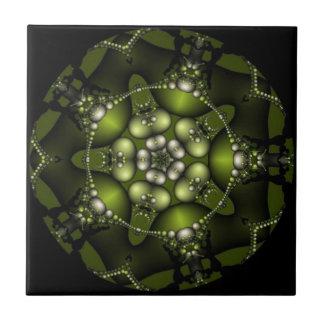 Green Fractal Jewels Ceramic Tile