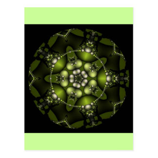 Green Fractal Jewels Postcard