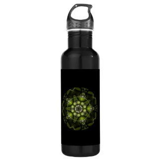 Green Fractal Jewels Stainless Steel Water Bottle