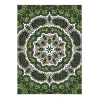 Green Fractal Photo Mandala Custom Announcements