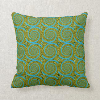 Green Fractal Spiral Pillow