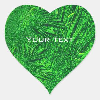 Green fractal.text. heart sticker