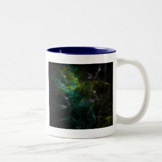 Green fractal Two-Tone coffee mug