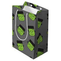 Green Frankenstein heads pattern Halloween Medium Gift Bag