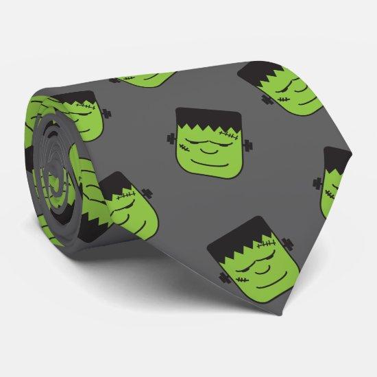 Green Frankenstein heads pattern Halloween Tie