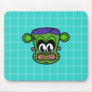 Green Frankenstein monkey on blue tile Mouse Pad
