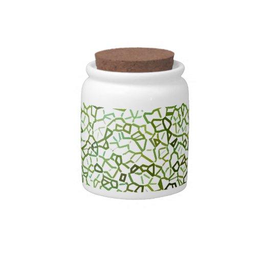 Green Freeform Geometrics Candy Jar