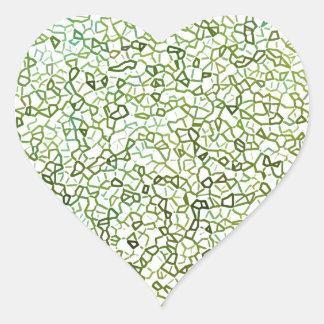Green Freeform Geometrics Heart Sticker
