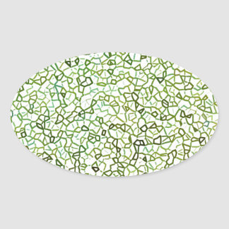 Green Freeform Geometrics Oval Sticker
