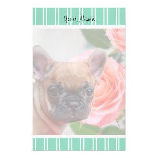 Green French Bulldog puppy stationary Stationery