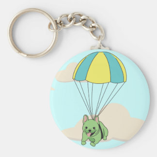 Green French Bulldog Umbrella Fun Keychain