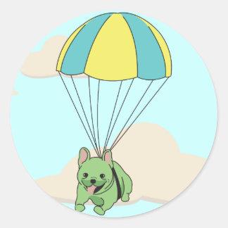 Green French Bulldog Umbrella Fun Sticker