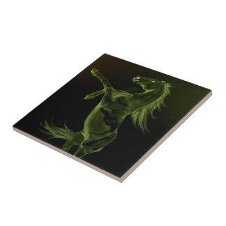 Green Friesian horse rearing Tile