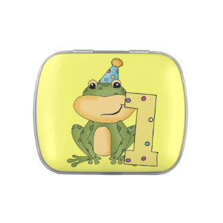Green Frog 1st Birthday Candy Tins and Jars