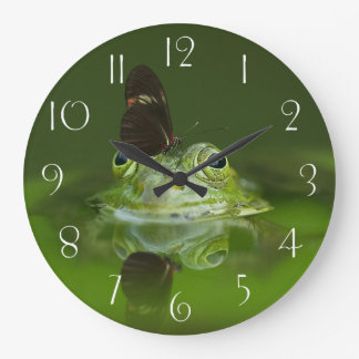 Green Frog and Butterfly Large Clock