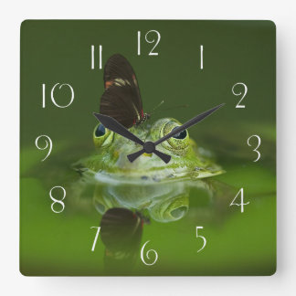 Green Frog and Butterfly Square Wall Clock