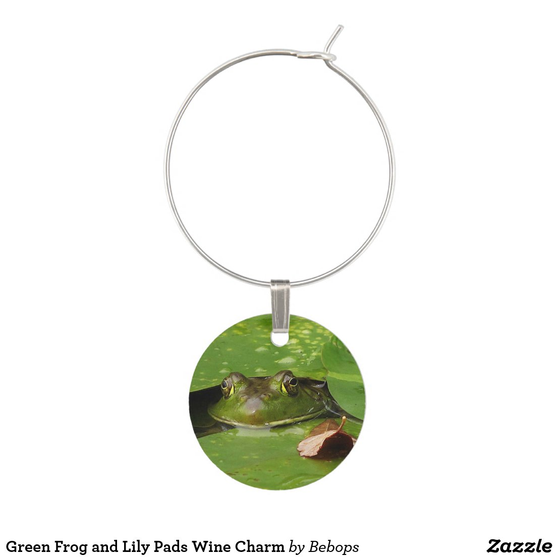 Green Frog and Lily Pads Wine Charm