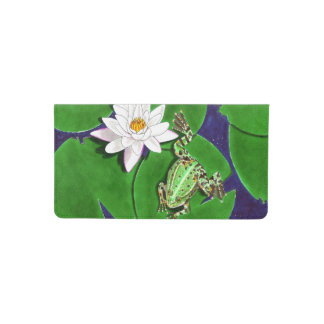 Green Frog and Water Lily Checkbook Cover