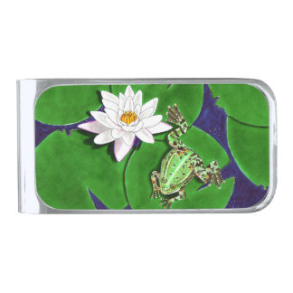 Green Frog and Water Lily Money Clip