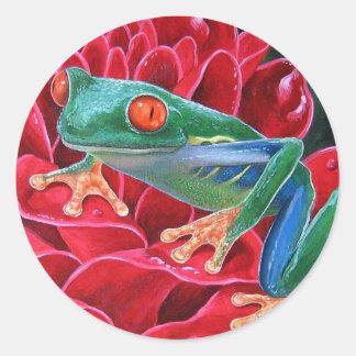 Green Frog Animal Art Painting - Multi Classic Round Sticker