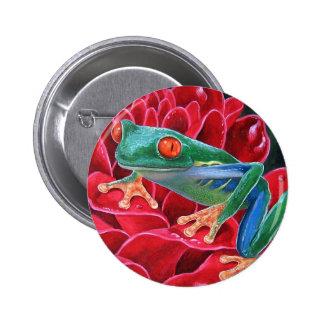 Green Frog Animal Art Painting - Multi Pins