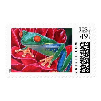 Green Frog Animal Art Painting - Multi Postage