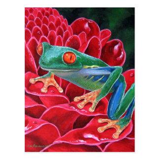 Green Frog Animal Art Painting - Multi Postcard