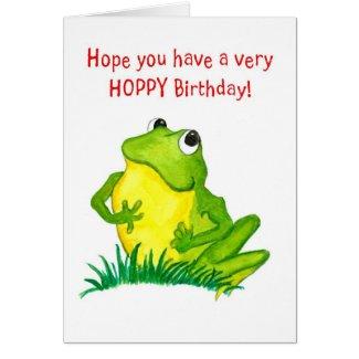 Green Frog Birthday Card