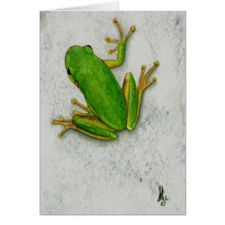 Green Frog Blank Greeting Card
