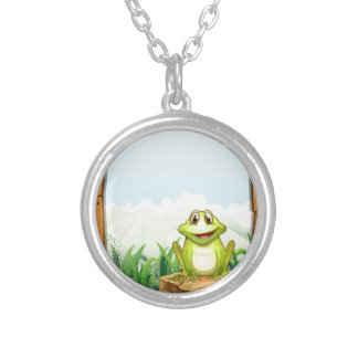 Green frog by the wooden frame round pendant necklace