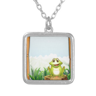 Green frog by the wooden frame square pendant necklace